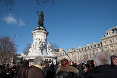 Manifestation on Republic Square in Paris. Royalty Free Stock Images