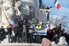 Manifestation on Republic Square in Paris. Royalty Free Stock Photo
