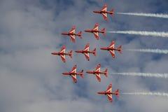 Manifestazione aerea rossa delle frecce di Royal Air Force Fotografie Stock