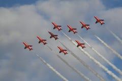 Manifestazione aerea rossa delle frecce di Royal Air Force Immagini Stock