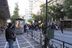 Manifestazione contro le misure di austerità a Atene fotografia stock