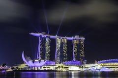 Manifestazione del laser all'hotel Singapore di MBS Fotografia Stock
