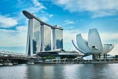 Manifestazione del laser di Singapore Marina Bay Sand e giardino dalla baia Fotografia Stock Libera da Diritti