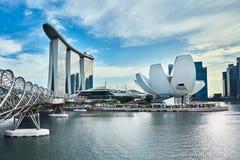 Manifestazione del laser di Singapore Marina Bay Sand e giardino dalla baia Fotografia Stock