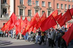 Manifestazione del partito comunista Fotografia Stock
