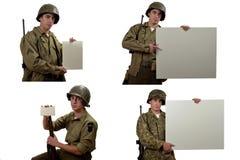 Manifestazione del soldato americano un segno fotografia stock