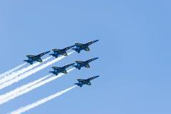 Manifestazione dell'aria e dell'acqua di Chicago, angeli blu della marina statunitense Fotografie Stock