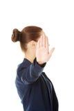 Manifestazione della donna di affari NESSUN gesto Immagine Stock