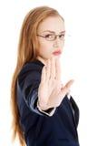 Manifestazione della donna di affari NESSUN gesto Immagini Stock Libere da Diritti