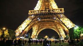 Manifestazione delle luci di Eiffel di giro stock footage