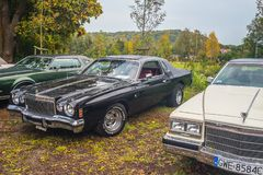 Manifestazione di automobile americana classica di vista frontale di Cadillac dell'automobile fotografia stock libera da diritti