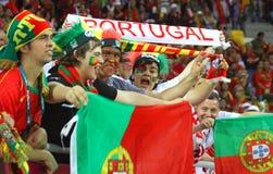 Manifestazione di fan del Portogallo il loro supporto Fotografie Stock Libere da Diritti
