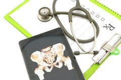 Manifestazione di immagine dei raggi x dell'osso del bacino in compressa sul diagramma medico Fotografie Stock