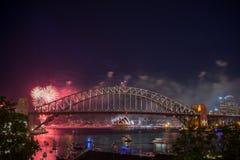Manifestazione di Sydney New Year Eve Fireworks Fotografia Stock Libera da Diritti