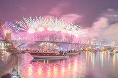 Manifestazione di Sydney New Year Eve Fireworks Immagine Stock Libera da Diritti