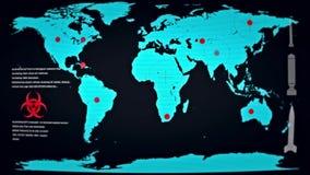 Manifestazione futuristica del monitor il mondo nell'ambito dell'attacco biologico royalty illustrazione gratis