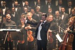 Manifestazione The Game dell'orchestra sinfonica dei troni a Kiev immagine stock