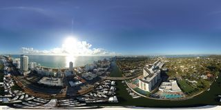 Manifestazione internazionale 2018 della barca di Miami di panorama aereo Fotografia Stock Libera da Diritti