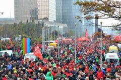 Manifestazione nazionale contro austerità nel Belgio fotografie stock libere da diritti
