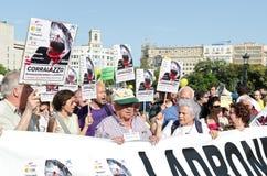 Manifestazione pacifica di 12M per un anniversario di 15M Fotografia Stock