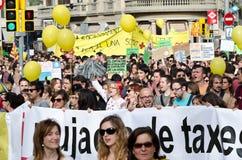 Manifestazione pacifica di 12M per un anniversario di 15M Immagini Stock