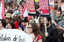 Manifestazione pacifica di 12M per un anniversario di 15M Fotografie Stock Libere da Diritti