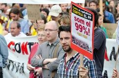 Manifestazione pacifica di 12M per un anniversario di 15M Fotografia Stock Libera da Diritti