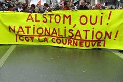 Manifestazione Parigi, protesta di festa dei lavoratori per l'Alstom Immagine Stock Libera da Diritti