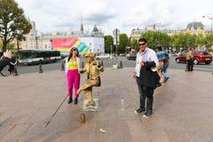 Manifestazione vivente della statua dell'oro - Parigi Fotografia Stock