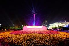 2016 manifestazioni cinesi di illuminazione del nuovo anno nel quadrato di Canton Huacheng Fotografia Stock