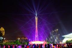 2016 manifestazioni cinesi di illuminazione del nuovo anno nel quadrato di Canton Huacheng Fotografie Stock Libere da Diritti