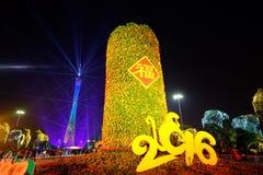 2016 manifestazioni cinesi di illuminazione del nuovo anno nel quadrato di Canton Huacheng Fotografia Stock Libera da Diritti