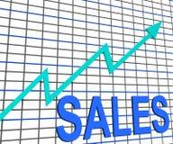 Manifestazioni del grafico del grafico di vendite che aumentano commercio di profitti Immagine Stock Libera da Diritti