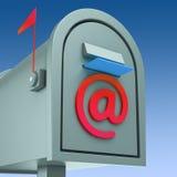 Manifestazioni del Postbox del email che inviano e che ricevono posta Fotografia Stock