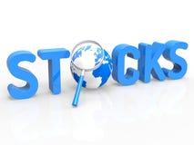 Manifestazioni di commerci di riserva che ingrandicono affare e commercio illustrazione di stock