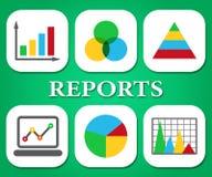 Manifestazioni grafico commerciale e dati dei grafici di rapporti Fotografie Stock Libere da Diritti