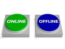 Manifestazioni online offline dei bottoni fuori linea o online Immagine Stock