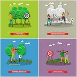 Manifesti della fucilazione di sport Il biathlon, tiro della pistola, giochi della concorrenza di tiro con l'arco vector l'illust Immagini Stock Libere da Diritti