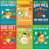 Manifesti di digestione messi illustrazione di stock