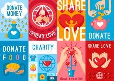 Manifesti di donazione di carità messi royalty illustrazione gratis