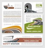Manifesti di servizio della costruzione di strade di sicurezza di vettore illustrazione di stock