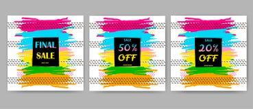 Manifesti di vendita messi La spazzola variopinta segna gli ambiti di provenienza Fotografie Stock