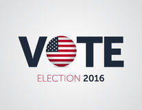2016 manifesti di voto patriottico Elezioni presidenziali 2016 in U.S.A. Insegna tipografica con la bandiera rotonda degli Stati  Fotografie Stock