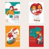 Manifesti disegnati a mano variopinti luminosi dedicati ad amore con i libri Libri di lettura del gatto e della ragazza, iscrizio Immagine Stock Libera da Diritti
