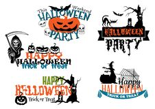 Manifesti ed insegne felici di Halloween Immagine Stock Libera da Diritti