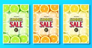 Manifesti fruttati di vendita di estate con l'illustrazione di vettore del fondo di frutti della limetta, dell'arancia e del limo Fotografia Stock