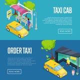 Manifesti isometrici 3D del taxi di ordine illustrazione di stock