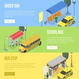 Manifesti isometrici 3D della stazione dello scuolabus e del taxi illustrazione di stock