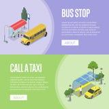 Manifesti isometrici 3D della stazione dello scuolabus e del taxi royalty illustrazione gratis
