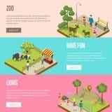Manifesti isometrici 3D dello zoo pubblico messi Fotografie Stock Libere da Diritti